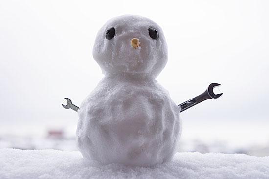 1分で作った雪だるま