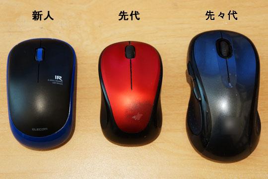 3つ並べたマウスの比較画像