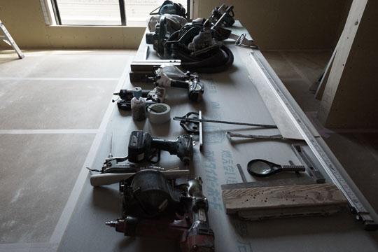 きれいに並べられた大工道具