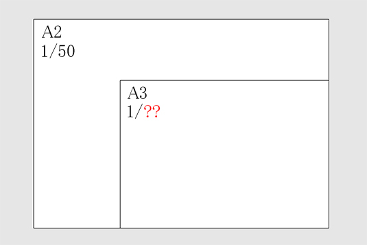 A2をA3に縮小した場合の縮尺