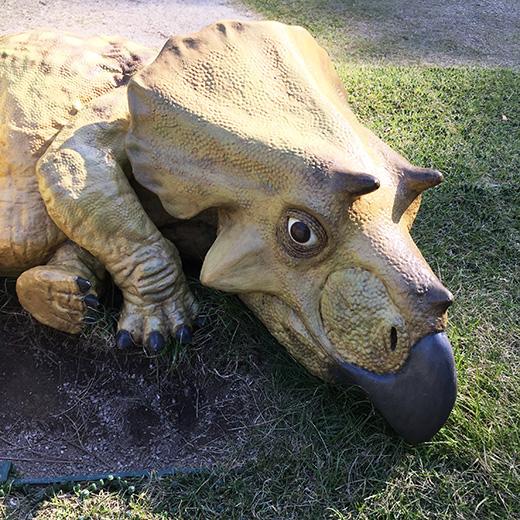 トリケラトプスの幼獣の像