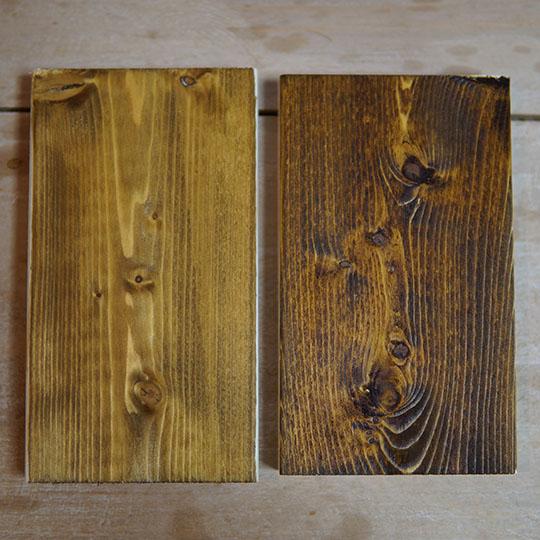 ウォーターベース ウッド・ダイを二度塗りした比較画像