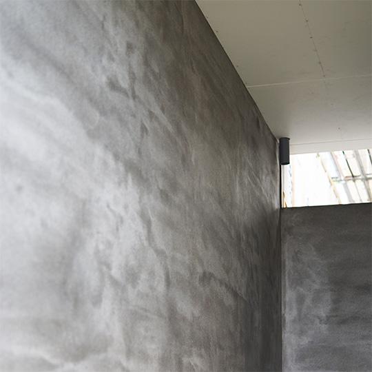 玄関ポーチの外壁モルタル